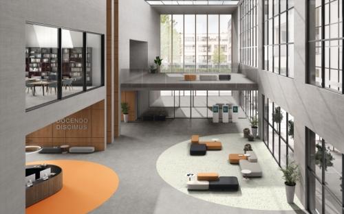 Optimise 70 ist ein heterogener Vinylboden für stark frequentierte Bereiche, der zusätzlich über akustische  Eigenschaften verfügt.