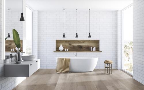 Die XXL-Dielen der neuen Wicanders-Kollektion wood Infinitus verfügen über ein Format von 1.840 x 220 Millimetern. Die Dekore in dekorativen Mustern reichen von hellem Grau-Braun bis zu sattem Dunkelbraun.