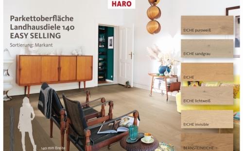 Mit der neuen Landhausdiele (LHD) 140 baut Haro seine Kompetenz beim Landhausdielendesign weiter aus  und macht mit dem Easy Selling Verkaufskonzept das Verkaufen am PoS noch einfacher.