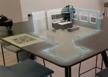 """Holographisch gestalten: Die Mixed-Reality-Anwendung """".rooms"""" verändert mit Hilfe von 3D und  Mixed-Reality-Beratung die Planung und den Verkauf im Bereich Retail, Interior-Design und Immobilien. (Foto: Island Labs)"""